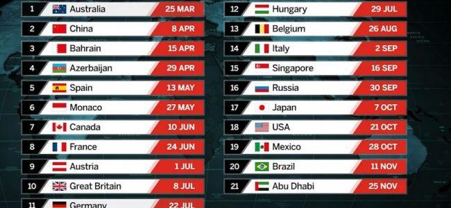 2018 Formula 1 Yarış Takvimi